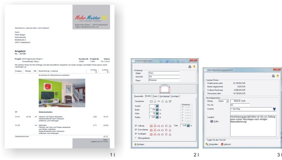 Bildschirme Angebot, Innenraumassistent, Abschlagsrechnungsassistent