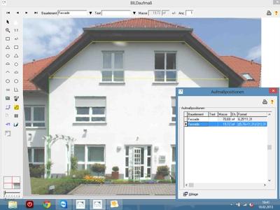 Beim Fotoaufmaß zerlegt BILDaufmaß die Fassadenfläche automatisch