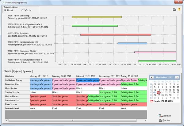 Bildschirm Projekteinsatzplanung