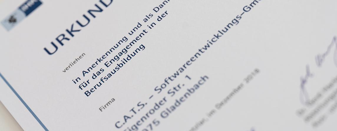 C.A.T.S.-Soft ist zertifizierter Ausbildungsbetrieb